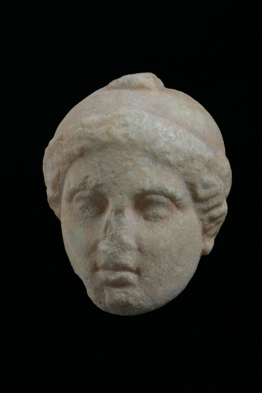 Head from a statuette of Athena.  Stoupa (ancient Lefktron) 4th c. B.C.